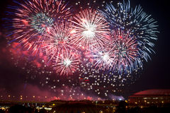 Fireworks over Moscow at night Royalty Free Stock Images