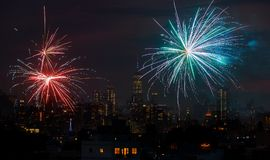 Fireworks over New York City celebrating USA Independence Day. Fireworks over Manhattan, New York City. celebrating USA Independence Day Royalty Free Stock Image