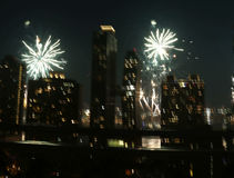Fireworks over New York City Royalty Free Stock Photos