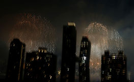 Fireworks over New York City Royalty Free Stock Photography