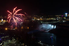 Fireworks over Niagara falls Royalty Free Stock Images