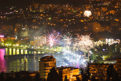 Fireworks over the night a beautiful city Stock Photos