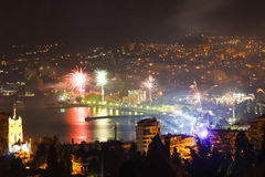 Fireworks over the night a beautiful city Royalty Free Stock Image