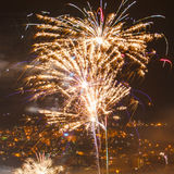 Fireworks over the night a beautiful city Stock Photo