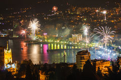 Fireworks over the night a beautiful city Stock Photography