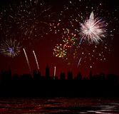 Fireworks over night city Royalty Free Stock Image