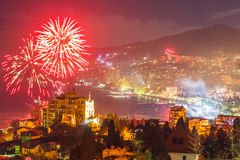 Fireworks over the night  city Royalty Free Stock Images