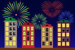 Fireworks over the night city. Stock Photo