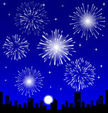 Fireworks  over the Night City. Fireworks  over the Night City,  illustrated Royalty Free Stock Photo