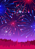 Fireworks over a night city. Vector illustration Stock Images