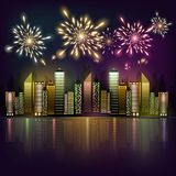 Fireworks over the night city. Vector illustration of fireworks over a night city Royalty Free Stock Photo