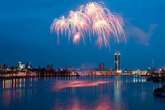 Fireworks over night city Royalty Free Stock Photos