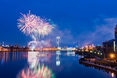 Fireworks over night city Royalty Free Stock Photography