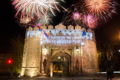 Fireworks over Nis Fortress close up Stock Images