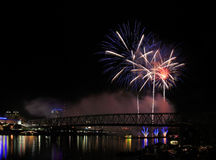Fireworks Over The Ohio Royalty Free Stock Images