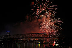 Fireworks Over The Ohio Stock Photography