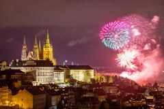 Fireworks over the Old Town of Prague, Czech Republic. New Year fireworks in Prague, Czechia. Prague fireworks during New Year. Celebration near St. Vitus royalty free stock images