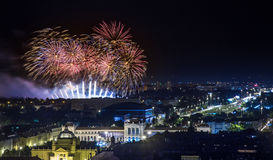 Fireworks. Over old town of Zagreb Royalty Free Stock Photo