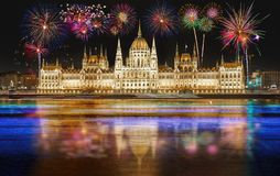 Fireworks over the Parliament building in Budapest, Hungary. stock image