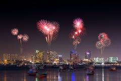 Fireworks over Pattaya beach at night, Chonburi, Thailand Stock Images