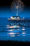 Fireworks over the pier Royalty Free Stock Photography