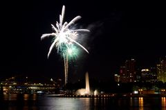 Fireworks over Pittsburgh. A firework display over the city of Pittsburgh, PA near the water fountain Stock Photography