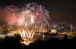 Fireworks over Pittsburgh for Independence Day stock photos