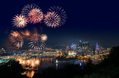 Fireworks over Pittsburgh for Independence Day stock photography