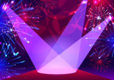 Fireworks over red carpet. Fireworks over podium. Vector illustration Royalty Free Stock Photo