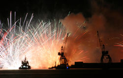 Fireworks over port Royalty Free Stock Photos