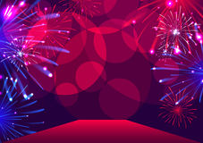 Fireworks over red carpet. Vector illustration Royalty Free Stock Photography