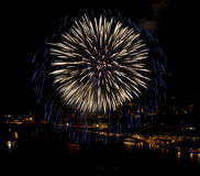 Fireworks over the Rhine river Stock Image