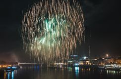 Fireworks over the River in the City Stock Photos