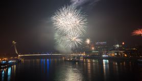 Fireworks over the River in the City Stock Photo