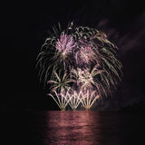 Fireworks over the river. Stock Photos