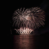 Fireworks over the river. Royalty Free Stock Photography