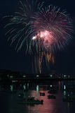 Fireworks over River Royalty Free Stock Images