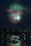 Fireworks over River Royalty Free Stock Photo