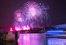 Fireworks over river Stock Images