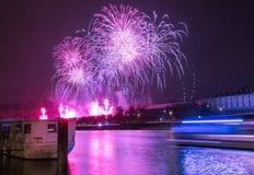 Fireworks over river Stock Images