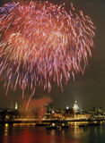 Fireworks over River Thames London Royalty Free Stock Photography