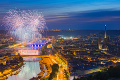 Fireworks over Rouen Royalty Free Stock Photo