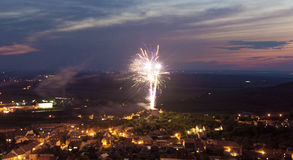 Fireworks over ruin of castle in Mikulov Royalty Free Stock Image