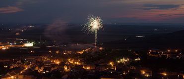 Fireworks over ruin of castle in Mikulov Stock Photos