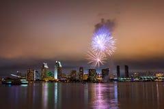 Fireworks over San Diego skyline Stock Photo