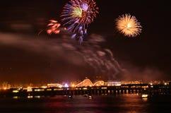 Fireworks over Santa Cruz Harbor Royalty Free Stock Image