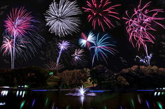 Fireworks Over Schenk Lake Stock Photo