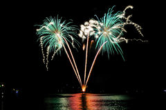 Fireworks over the sea of Rapallo, It Stock Image