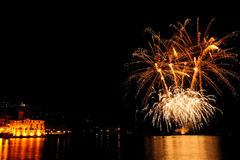 Fireworks over the sea of Rapallo, It Royalty Free Stock Photo
