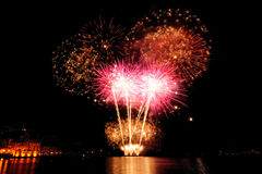 Fireworks over the sea of Rapallo, It stock photos